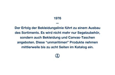 """1976 - Der Erfolg der Bekleidungslinie führt zu einem Ausbau des Sortiments. Es wird nicht mehr nur Segelzubehör, sondern auch Bekleidung und Canvas-Taschen angeboten. Diese """"unmaritimen"""" Produkte nehmen mittlerweile bis zu acht Seiten im Katalog ein."""