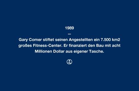 1989 - Gary Comer stiftet seinen Angestellten ein 7.500 km² großes Fitness-Center. Er finanziert den Bau mit acht Millionen Dollar aus eigener Tasche.