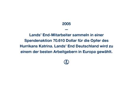 2005 - Lands' End-Mitarbeiter sammeln in einer Spendenaktion 70.610 Dollar für die Opfer des Hurrikans Katrina. Lands' End Deutschland wird zu einem der besten Arbeitgebern in Europa gewählt.