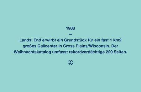 1988 - Lands' End erwirbt ein Grundstück für ein fast 1 km² großes Callcenter in Cross Plains/Wisconsin. Der Weihnachtskatalog umfasst rekordverdächtige 220 Seiten.