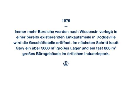 1979 - Immer mehr Bereiche werden nach Wisconsin verlegt; in einer bereits existierenden Einkaufsmeile in Dodgeville wird die Geschäftstelle eröffnet. Im nächsten Schritt kauft Gary ein über 3000 m² großes Lager und ein fast 800 m² großes Bürogebäude im örtlichen Industriepark.