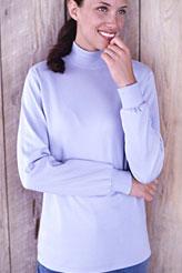 Unifarbener Baumwoll-Stehbundpulli mit langen Ärmeln für Damen in Plusgrößen