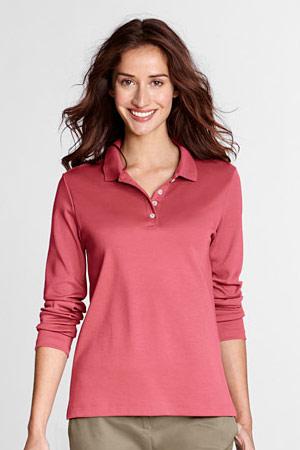 Unifarbenes Pima-Poloshirt mit langen Ärmeln für Damen in Plusgröße