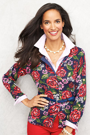 Supima Feinstrick-Cardigan mit Blumenprint für Damen in Plusgröße